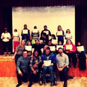 Students with their certificates of completion and the D-PAN team